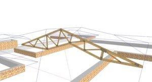 SCHNOOR konstruierte die innere Kathedraldecke und das äußere Walmdach über dem Wohn-Essbereich mit einem Spezialgebinde in Nagelplattenbinderbauweise aus einem Guss