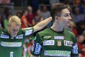 Magdeburger Mannschaft mit internationaler Strahlkraft: Michael Damgaard (vorne rechts) hat mit der dänischen Nationalmannschaft 2016 olympisches Gold geholt. Seit 2015 ist der Däne außerdem beim SC Magdeburg auf Erfolgskurs.