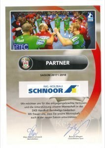 Erfolgreiche Partnerschaft: Sponsoring-Urkunde vom SC Magdeburg für SCHNOOR.