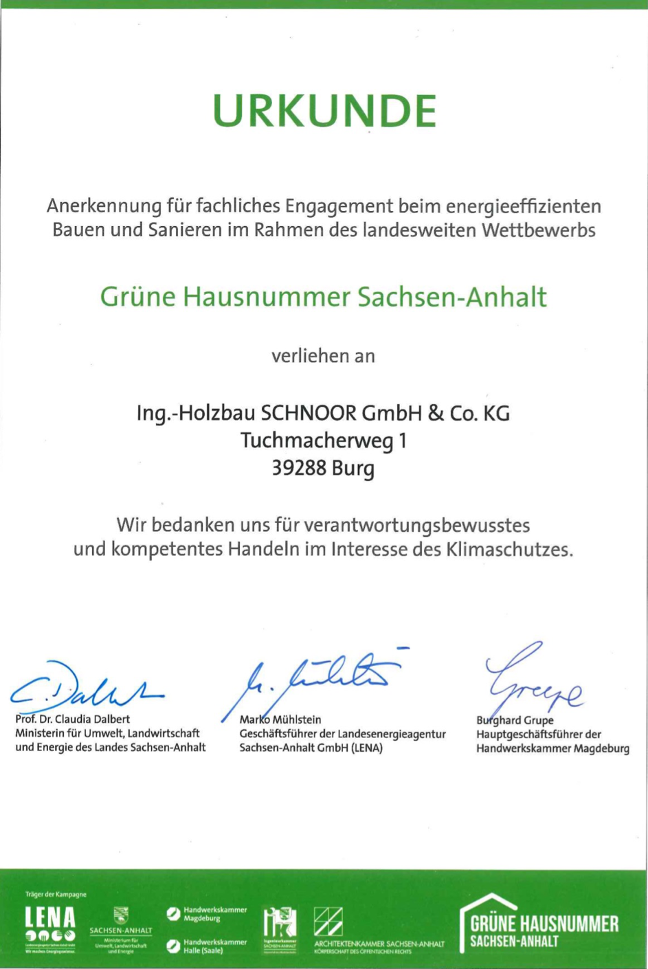 Urkunde Grüne Hausnummer